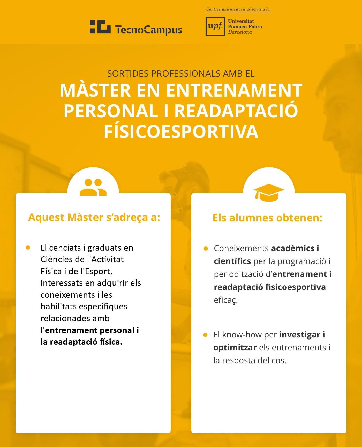 Sortides professionals amb el Máster en Entrenament Personal i Readaptació Físicoesportiva